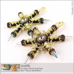 Beaded Christmas ornament designs, Helena Tang-Lim, Snowflake