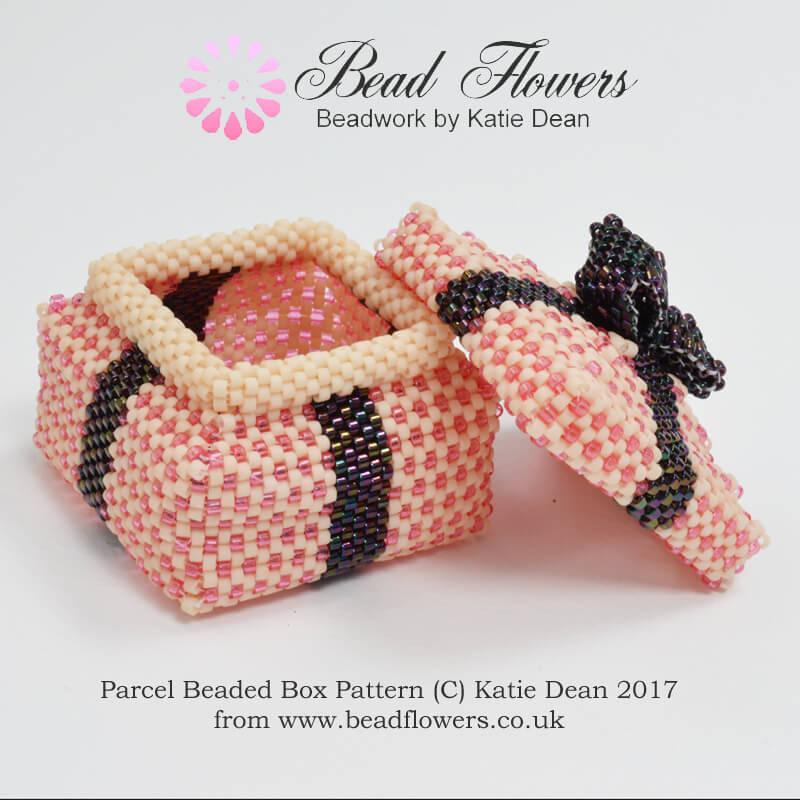 Parcel Beaded Boxes Pattern, Katie Dean, Beadflowers, Beaded Gifts