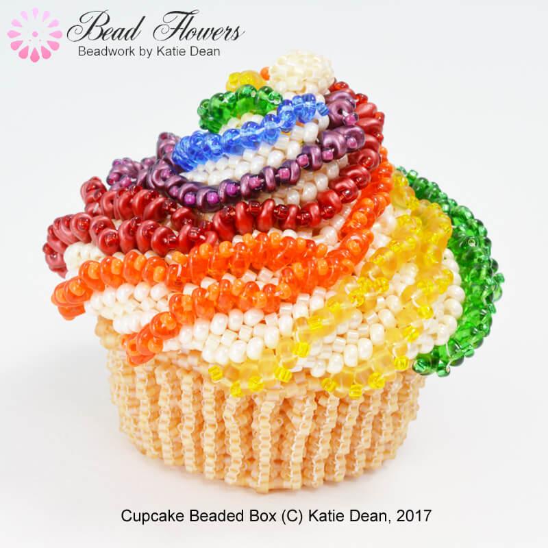 Rainbow Cupcake beaded box pattern by Katie Dean