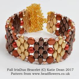 Fall IrisDuo Bracelet Pattern, Katie Dean, Beadflowers