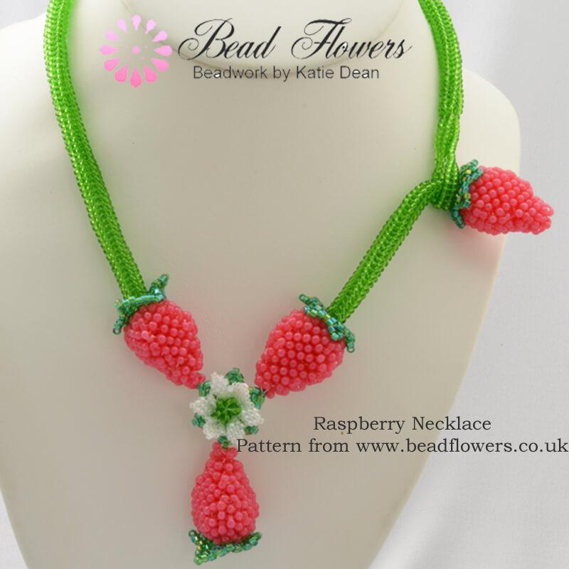Raspberry Beaded Necklace, Katie Dean, Beadflowers