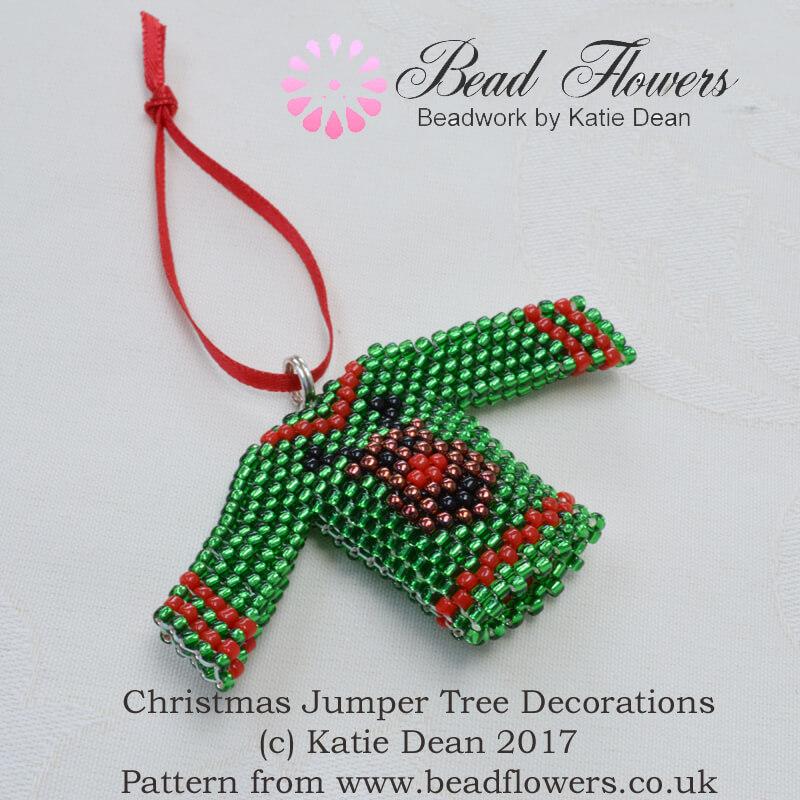 Beaded Christmas Jumper Tree Decoration Pattern, Katie Dean, Beadflowers