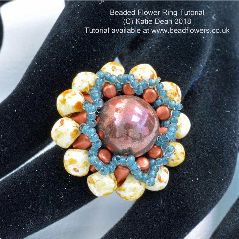 Beaded Flower Ring Tutorial, Katie Dean, Beadflowers