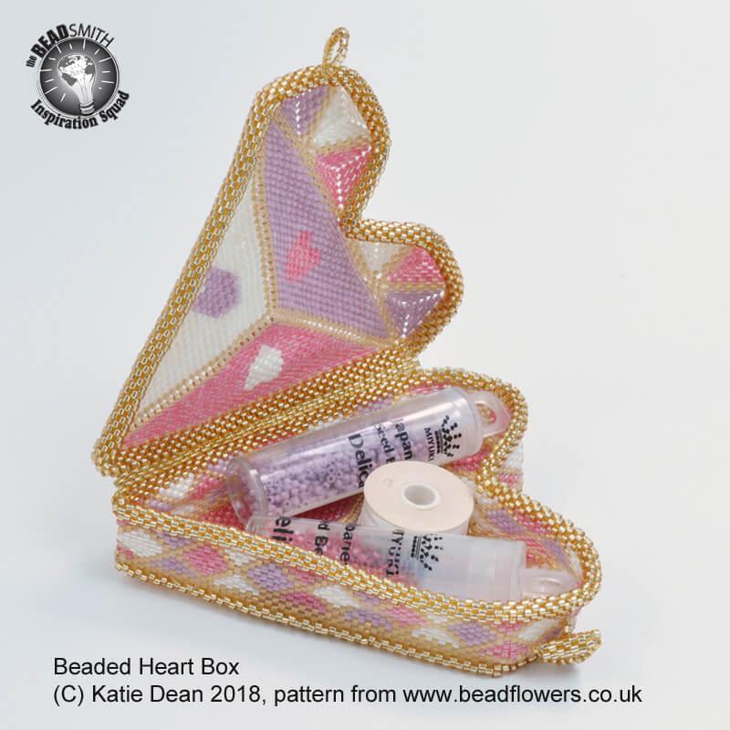 Beaded Heart Box Pattern, Katie Dean, Beadflowers, New Beading Patterns