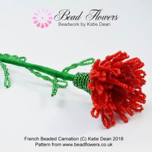 French Beaded Carnation, Katie Dean, Beadflowers