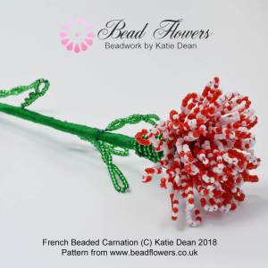 French Beaded Carnation Pattern, Katie Dean, Beadflowers