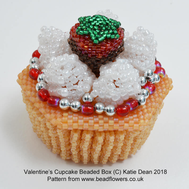 Valentines Cupcake Beaded Box Kit and Pattern, Katie Dean, Beadflowers