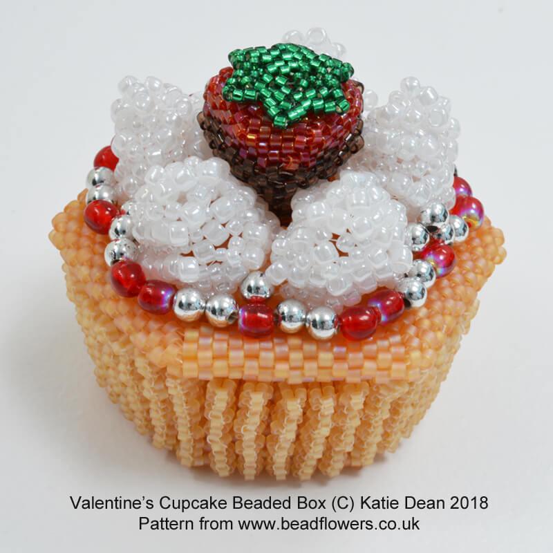 Valentines Cupcake Beaded Box Kit and Pattern, Katie Dean, Beadflowers