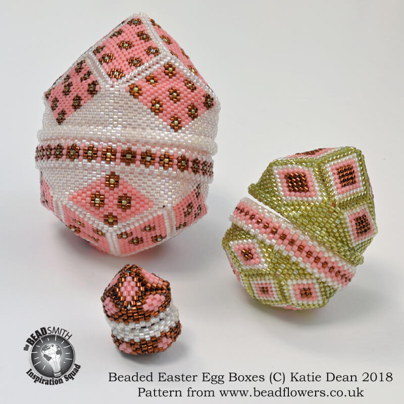 Easter Egg Beaded Boxes, Pattern Katie Dean, Beadflowers
