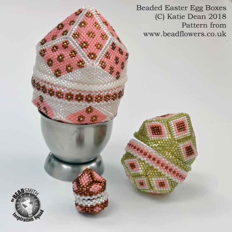 Easter Egg Beaded Boxes, Pattern Katie Dean, Beadflowers