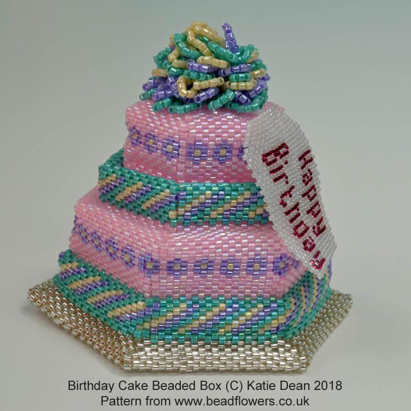 Beaded Birthday Cake Box Pattern, Katie Dean, Beadflowers