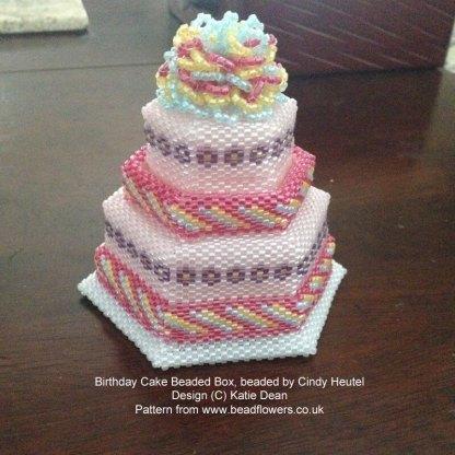 Birthday Cake beaded box, beaded by Cindy Heutel. Pattern by Katie Dean, Beadflowers