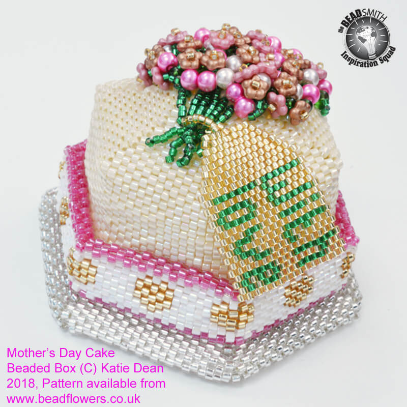 Beaded Cake Box Tutorial and kit for Mothers Day or Birthday, Katie Dean, Beadflowers, New Spring Beading Projects