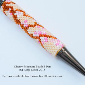 Cherry Blossom Beading Pattern for Pens, Katie Dean, Beadflowers