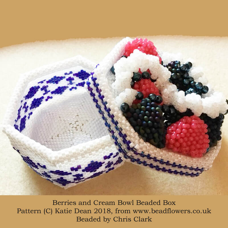 Berries and cream bowl beaded box pattern and kit, Katie Dean, beadflowers
