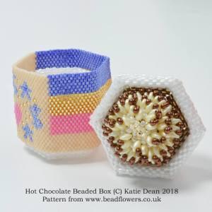 Hot chocolate beaded box pattern, Katie Dean, beadflowers