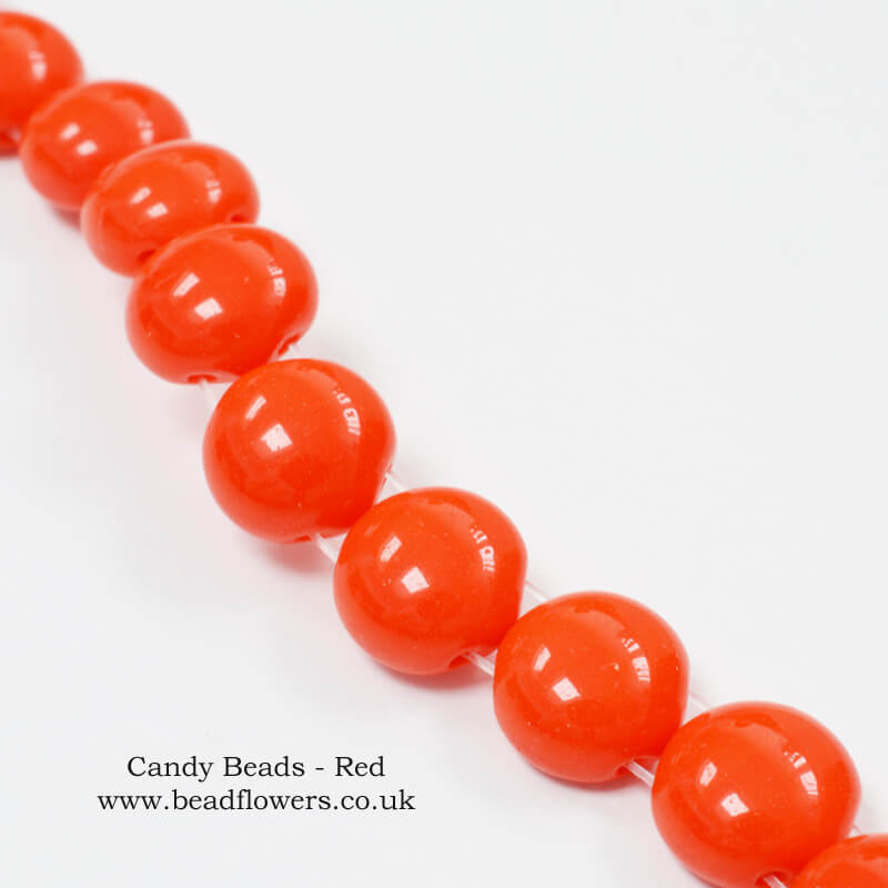 Candy Beads, UK, 20 bead strand, Katie Dean Beadflowers