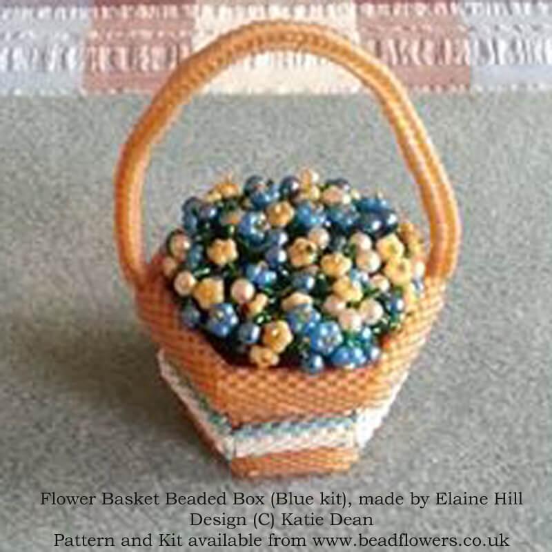 FLower Basket Beaded Box Kit and Pattern, Blue Variation, Beaded by Elaine Hill, Design Katie Dean, Beadflowers