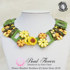 Flower Meadow Necklace: carrier beads pattern, Katie Dean, Beadflowers