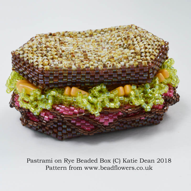 Pastrami on Rye Beaded Box Kit or Pattern, Katie Dean, Beadflowers