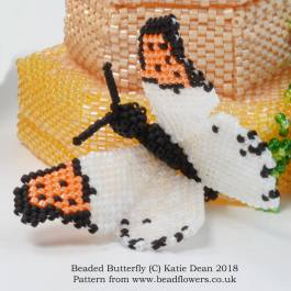 Beaded Butterfly Pattern, Katie Dean, Beadflowers