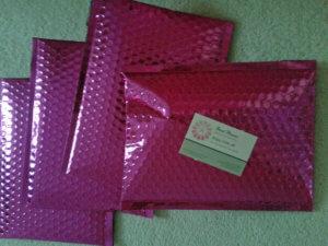 Green beads - pink envelope packaging, Katie Dean, Beadflowers
