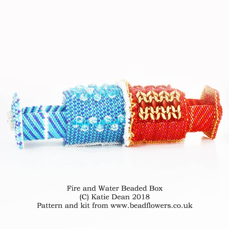 Fire and water beaded box, Katie Dean, Beadflowers