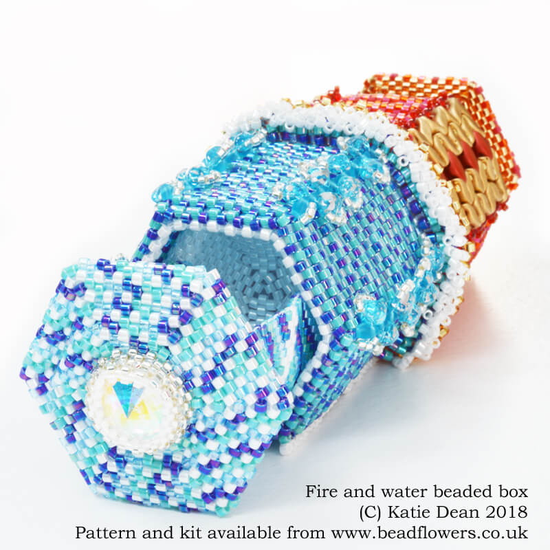 Fire and water beaded box, Katie Dean, Beadflowers