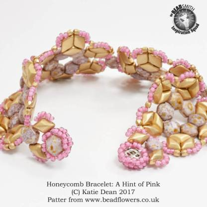Honeycomb Bracelet: A hint of pink, Katie Dean, Beadflowers