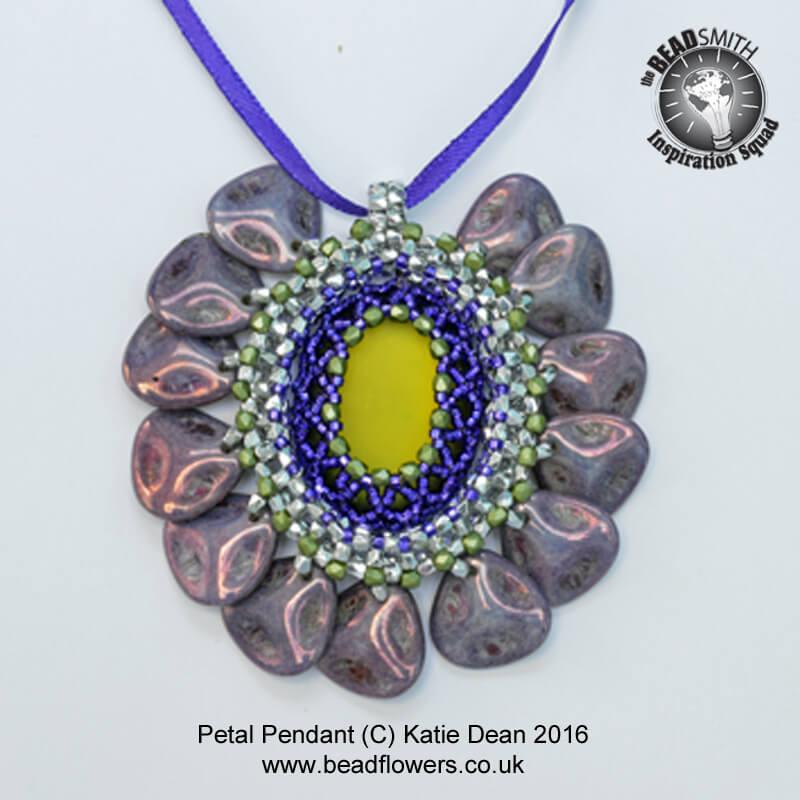 Petal beads pendant pattern, Katie Dean, Beadflowers