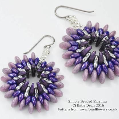 Simple Beaded Earrrings or Pendant Pattern, Katie Dean, Beadflowers