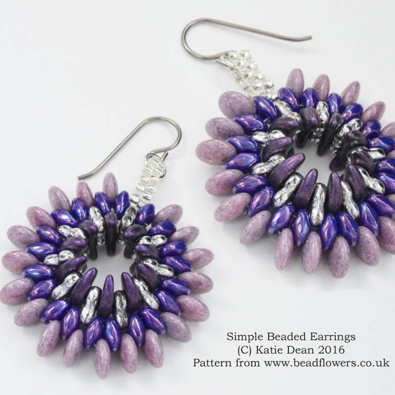 Simple Beaded Earrrings or Pendant Pattern, Katie Dean, Beadflowers