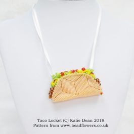 Taco Locket Beading Pattern, Katie Dean, Beadflowers
