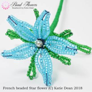 Beginner French beading pattern for star flowers, Katie Dean, Beadflowers