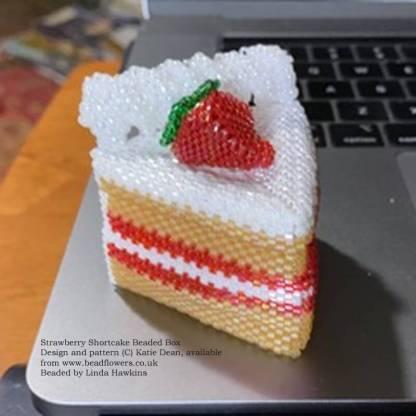 Strawberry shortcake beaded box, pattern by Katie Dean, beaded by Linda Hawkins