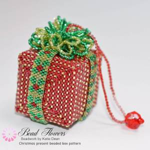 Christmas present beaded box pattern, Katie Dean, Beadflowers