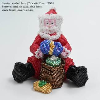 Santa beaded box pattern, Father Christmas beaded box kit, Katie Dean, Beadflowers