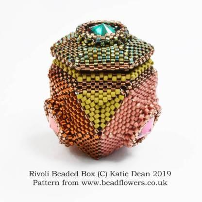 Rivoli Beaded Box Pattern, Katie Dean, Beadflowers