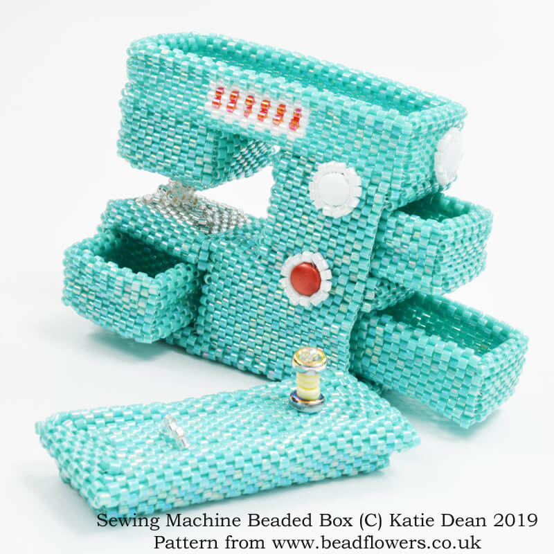 Sewing Machine Beaded Box Pattern, Katie Dean, Beadflowers