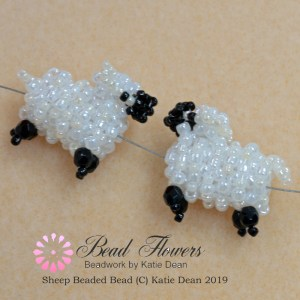 Sheep beaded bead pattern, Katie Dean, Beadflowers