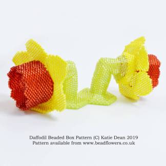 Daffodil beaded box pattern, Katie Dean, Beadflowers