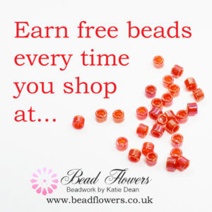 Free beads loyalty scheme from Bead flowers, beadwork by Katie Dean
