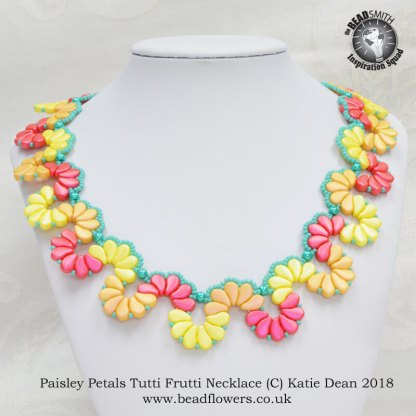 Paisley Petals Tutti Frutti Necklace pattern, Katie Dean, Beadflowers