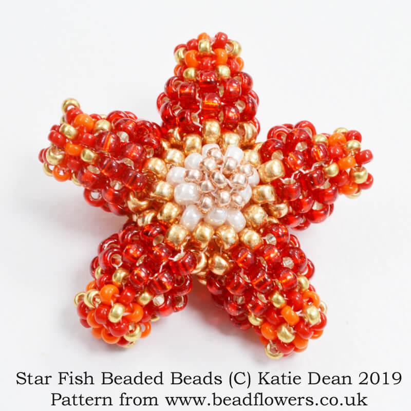Star Fish beaded bead pattern, Katie Dean, Beadflowers