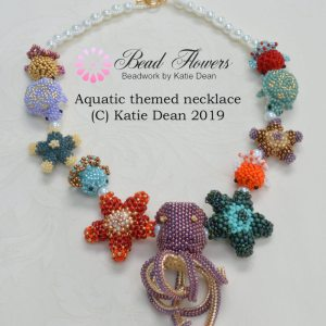 Aquatic themed beaded necklace project by Katie Dean, Beadflowers