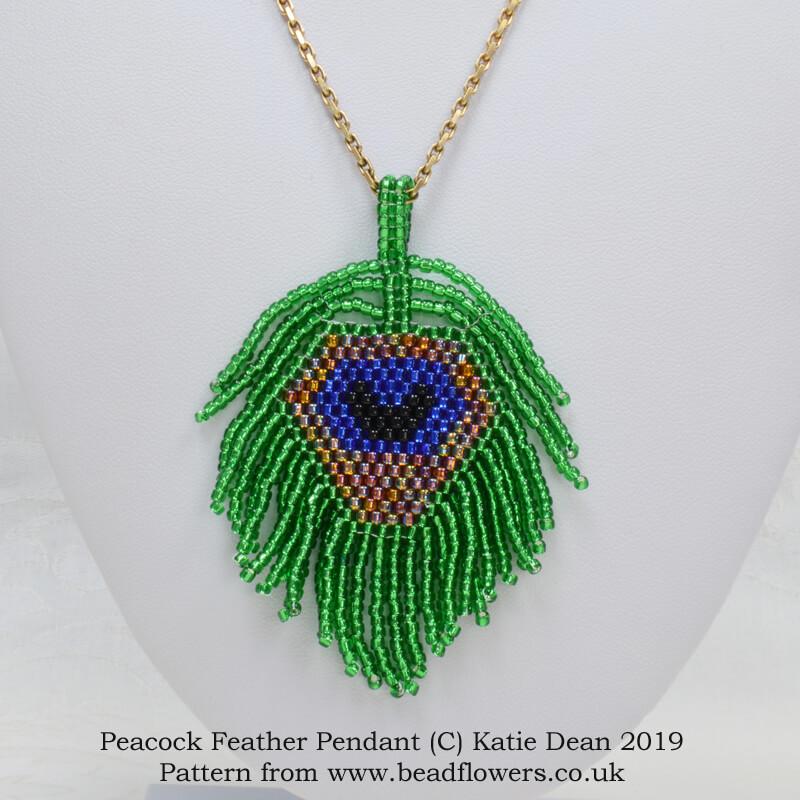 Peacock feather pendant beading pattern, Katie Dean, Beadflowers
