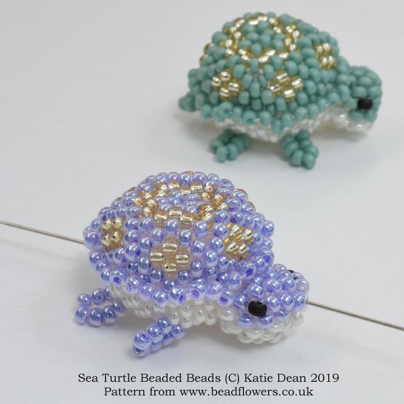 Sea turtle beaded bead pattern, Katie Dean, Beadflowers