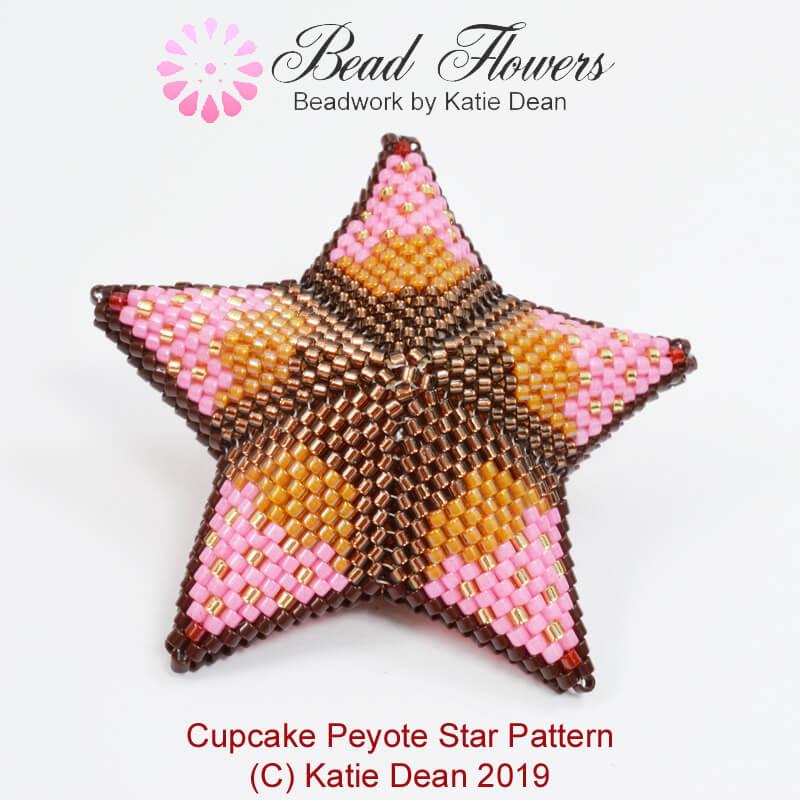 Cupcake Peyote Star Pattern, Katie Dean, Beadflowers, April 2019 beading patterns