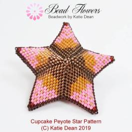 Cupcake Peyote Star Pattern, Katie Dean, Beadflowers, April 2019 beading patterns