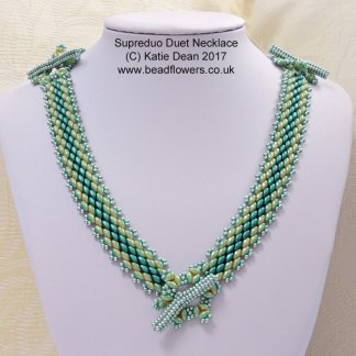 Superduo Duets Peyote Necklace and Bracelet pattern, Katie Dean, Beadflowers